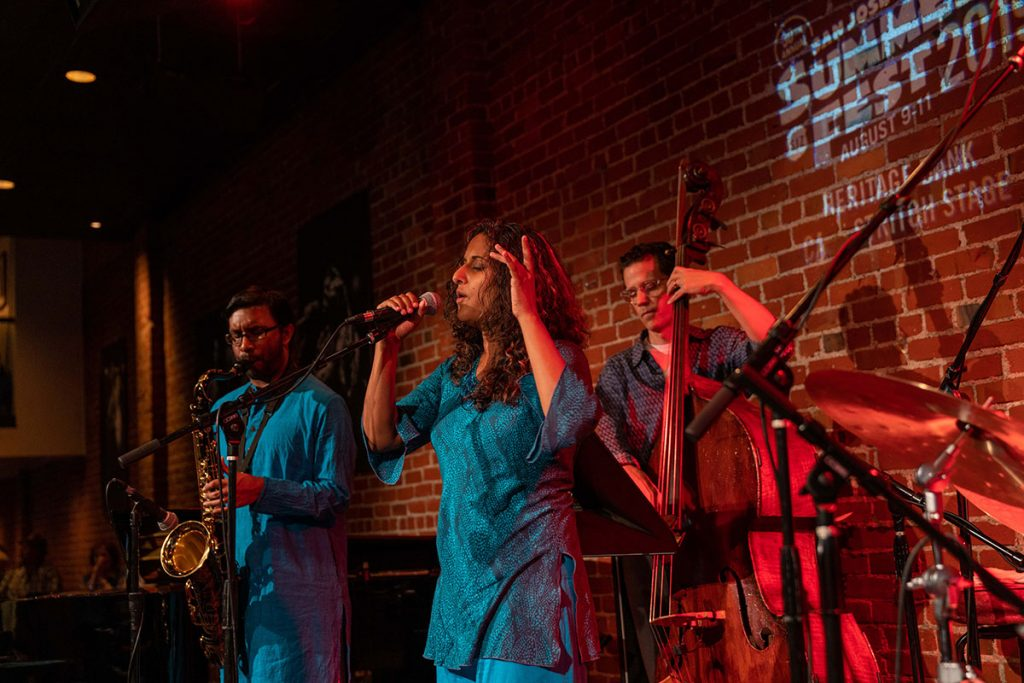 Blending Indian classical music with contemporary jazz and funk stylings The Alaya Project brought down the house at the Cafe Stritch Stage. Photo by Mark Anenberg