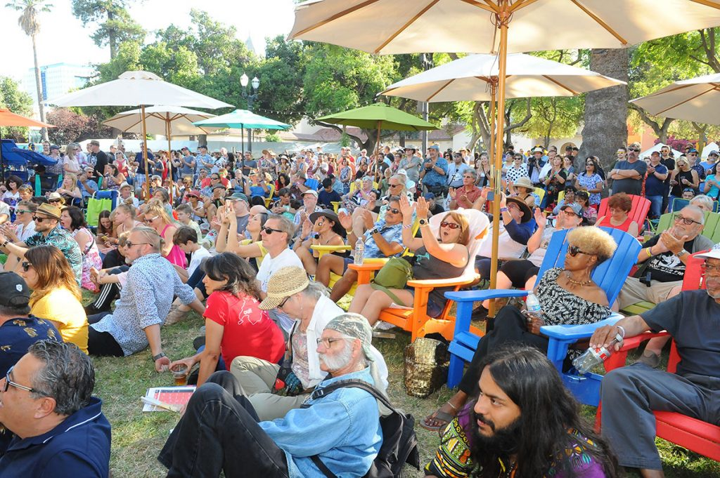 A huge audience enjoyed the Blues/Big Easy Stage in its new location at the south end of Plaza de Cesar Chavez park. Photo by Trisha Leeper