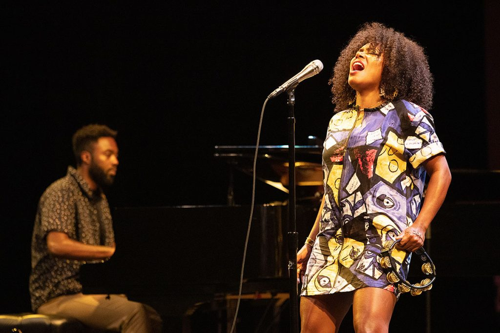 Vocalist China Moses brought her high voltage vocals to the Hammer Theatre Stage. Photo by Robert Birnbach