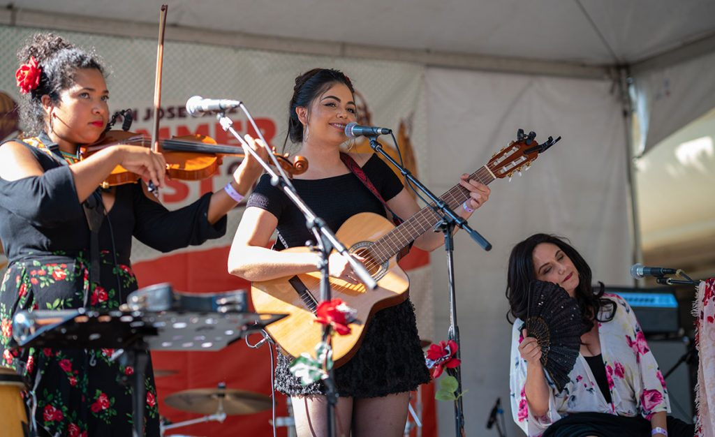 All-femal sextet Las Chollas Peligrosas drew on multiple traditional subgenres of Latin music on the Sonido Clash Stage. Photo by Mark Anenberg