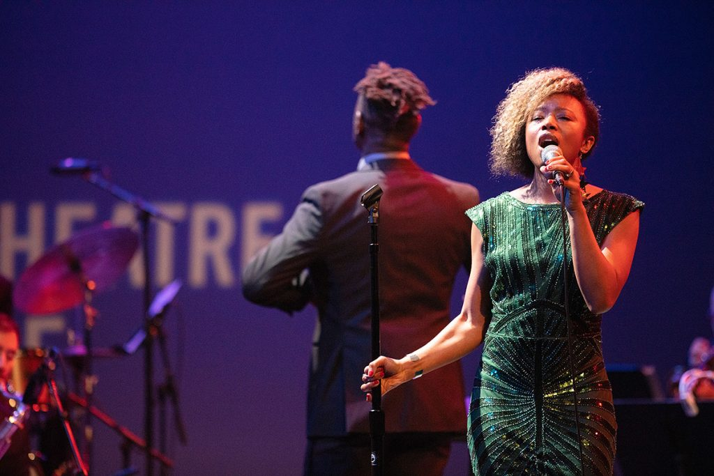 The Marcus Shelby Orchestra teamed up with vocalist Tiffany Austin for a soulful performance. Photo by Robert Birnbach