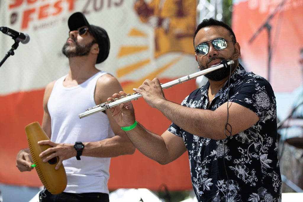 Colombia-based Orquesta La-33 brought the sound of classic salsa with a Bogotá twist to the Salsa Stage. Photo by Robert Birnbach