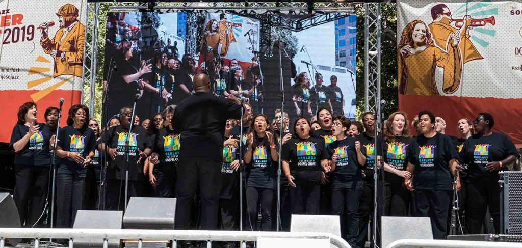 The Oakland Interfaith Gospel Choir returned for the Fest's 30th Anniversary to take fest-goers to church on the last day of the music-filled weekend. Photo by Walter Wagner