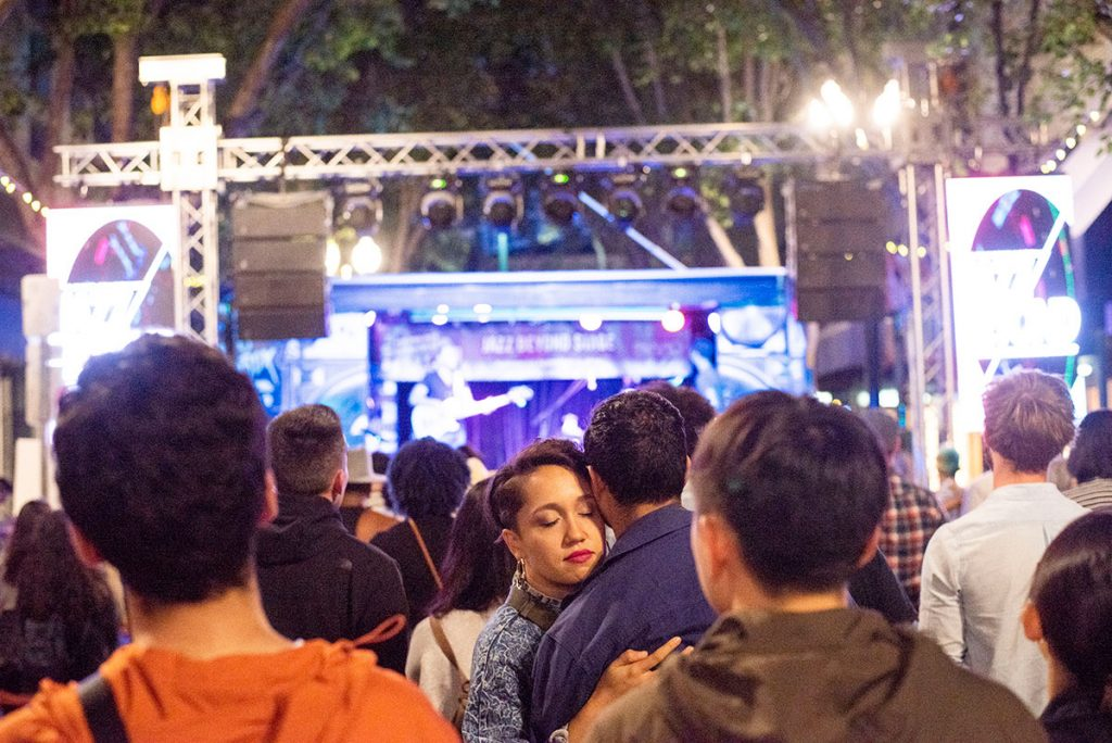 Fest-goers at Jazz Beyond Stage during Shigeto's set. Photo by Daniel Garcia